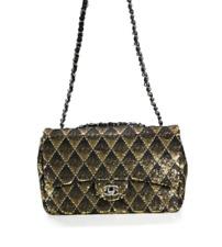 Chanel женская черная золотыми блестками и защипывающаяся сумка 2017 с клапаном