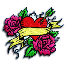 Cupid Arrow Heart Rose Patch Iron on Harley Heavy Lady Biker Rider Tattoo Race