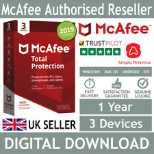 McAfee Total Protection 2018 / 2019 3 Devices 1 Year *5 Min Delivery by Email