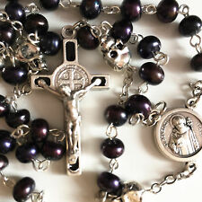 Black Real Pearl Bead & silver skull catholic Rosary Necklace St.Benedict cross