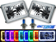 "4X6"" RGB SMD LED Color Change Halo Crystal Headlight H4 Light Bulb Headlamp Pair"