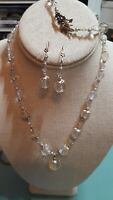 Vintage Crystal and Faux Pearl Parure - Necklace, Bracelet And Earrings