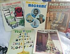 5 Vtg 1970s Macrame Plant Hangers Lawn Chairs & 3-D Macrame Project Craft Books