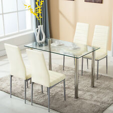 1caf648aeb 5 pcs Dining Set Glass Metal Table and 4 Chairs Kitchen Dining Room  Furniture