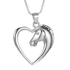 Handmade Women Animal Horse Heart Love Silver Necklace Pendant Friendship Gifts