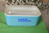 VINTAGE PYREX 0502 6T DARK TURQUOISE REFRIGERATOR DISH gy 1.5 PT. w/LID
