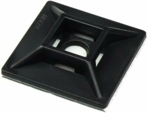 [100-Pack] Adhesive-Backed Zip Tie Mount Flex Anchor Point Black by Nova Supply