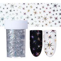 Holo Silber Nagelfolie Nail Art Star Starry Nagelsticker Nail Foils Maniküre DIY