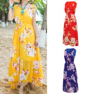 Women Chiffon Maxi Dress Floral V-Neck Sleeveless Casual Beach Boho Long Dresses