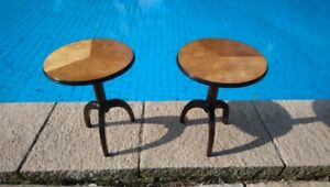 Carl Malmsten style. Nordiska Kompaniet. Pair Occasional Tables. Made in Sweden