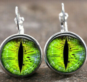 3D Gothic Dragon Eye Earrings Glass Cabochon Silver US SELLER 👻🧲 (1) Pair