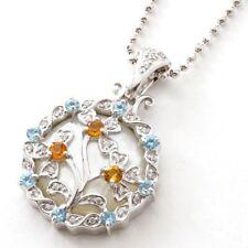 "925 Sterling Silver Gemstones Flower Motif Round Pendant SV925 Ball Chain 19.5"""