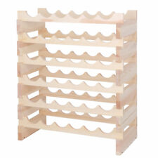 36 Bottles Holder Wine Rack Stackable Storage 6 Tier Solid Wood Display Shelves
