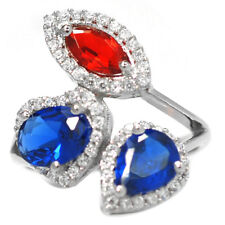 De Buman 3.75ctw Created Sapphire with Cubic Zirconia 925 Silver Ring, Size 7.5