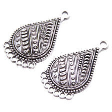 20pcs New Antique Silver Carved Waterdrop Shape Alloy Charms Connector Pendant D