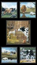FARM LIFE COWS SCENIC FABRIC PANEL