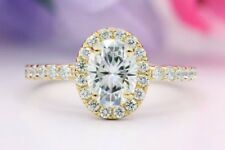 Engagement Ring 14K Yellow Gold Over 1.50 Ct Forever Oval Diamond Halo