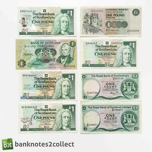 SCOTLAND: 8 x 1 Scottish Pound Banknotes.