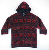 Vintage Woolrich Red Blue Wool Hooded Snowflake Fair Isle Nordic Jacket Womens M