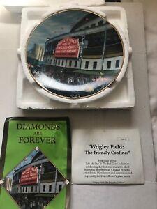 CHICAGO CUBS WRIGLEY FIELD Bradford Exchange Baseball Plate 22K Gold COA