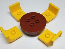 Round Brown Circle Table Vintage Yellow Chairs Lego DUPLO Bricks House Furniture