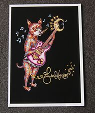 SIGNED AND MATTED RED ELECTRIC GUITAR moon NEW ORLEANS ARTIST Jamie Hayes