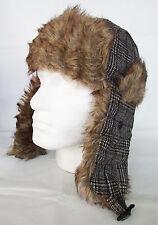 Trapper Hat Mens By JL Accessories Shooters Brown Tweed Wool Blend Faux Fur