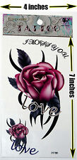 Large Rose Temporary Tattoo Sheet. High Quality. Easy to Apply
