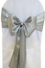 "100 Silver Satin Chair Cover Sash Bows 6"" x 108"" Banquet Wedding Made in USA"