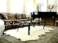 "48"" x 58"" Large Warm White Sheepskin Pelt Octo Sheep Area Rug Faux Fur Shaggy"