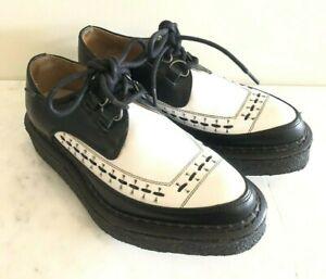 Fluevog Creeper X Strummer White Black Leather Oxfords Shoes Women 7, Men 5 RARE