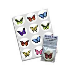 Cupcake Toppers Butterfly Pre-cut Rice Paper Cake Decoration 40mm x12 Real