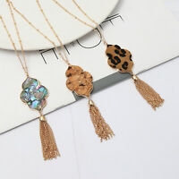 Cheetah Leopard Natural Shell Moroccan Pendant Long Necklace with Metal Tassels