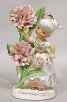 Vintage LEFTON #985 May Flower Girl with Halo Dances Among Pink Carnations Japan