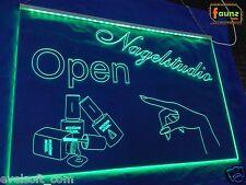 """LED Leuchtschild """"Nagelstudio Open"""" Offen grün opak Dienst Geschäft Firma ©faunz"""