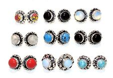 Wholesale Lot ! 20 Pair OPALITE Gemstone 925 Sterling Silver Plated Stud Earring