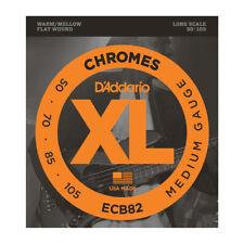 D'Addario ECB82 CHROMES FLATWOUND BASS STRINGS, MEDIUM GAUGE 4's - 50-105