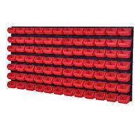 92 teiliges SET Lagersichtboxenwand Stapelboxen Werkzeugwand Rot