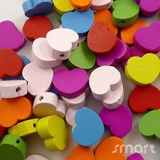 100pcs Mixed Colors Heart Wood Beads Lot Craft/Kids Jewelry Making 17MM