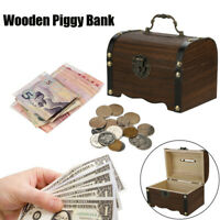 Wooden Piggy Bank Safe Money Box Savings Wine Barrel Wood Carving Handmade