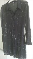 Chemisier chemise longue : ANGE 38/40 Taille 2 NEUF ( Noir Transparent À Motifs)