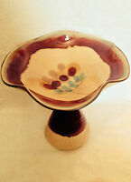 Handmade Signed Painted Ceramic/Porcelain Tray Platter Compote Pedestal Holder