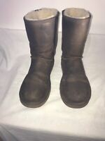 Ugg Australia Brown Leather Ladies Mid Calf Boots Uk 4.5/5 Ref Ba15