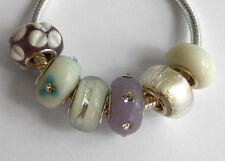 6 x Beads *** AUS ECHTEM SILBER und Glasperle, weiss-lila
