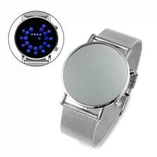 Wrist Watch Fashion Men Sports Round Stainless Steel Dial Digital LED Light LN