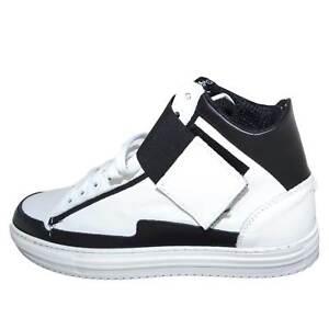 Sneakers alta art.8189 in vera pelle bianco/nero bicolore con strappo ed elastic