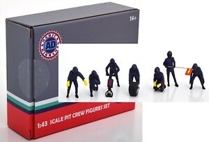 Pit Crew Figure 7 Pcs Formula 1 Team Red Bull Blue With Decals 1:43 En Diorama