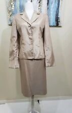 COLLECTIONS FOR LE SUIT Women 2PC Gold Brown Beaded Skirt Suit Size 10