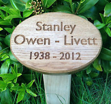 200mm x 150mm Solid Oval English Oak Wood Memorial Plaque c/w Ground Fixing Post