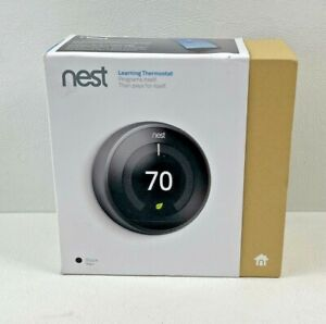 Nest 3rd Generation Learning Black Programmable Thermostat T3016US TESTED